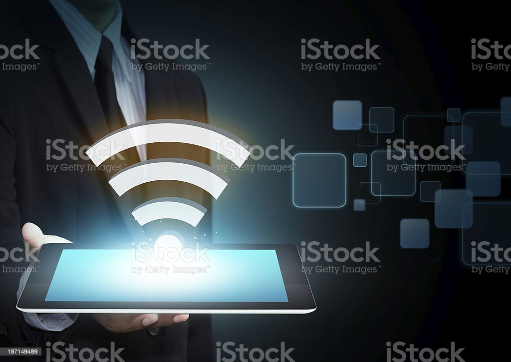 Wifi, Internet technology and networking concept stock photo