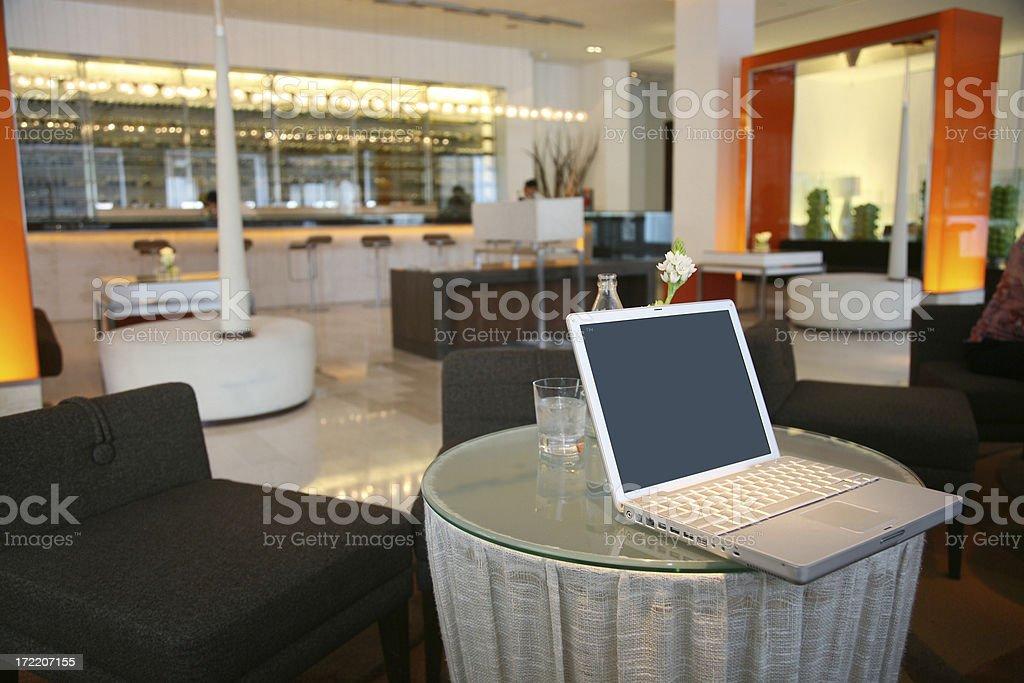 WiFi, Laptop In Hotel Lobby stock photo