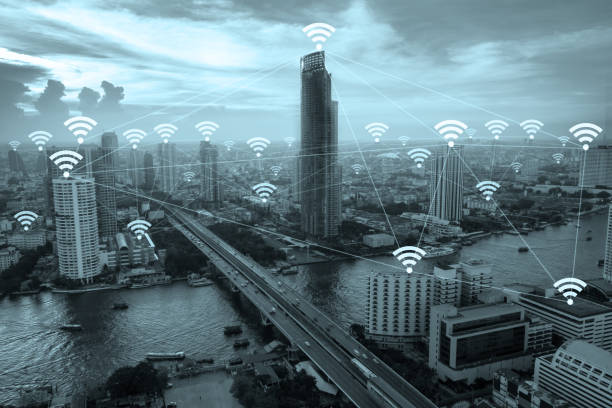 wifi network connection concept above cityscape background. - physical geography stock photos and pictures