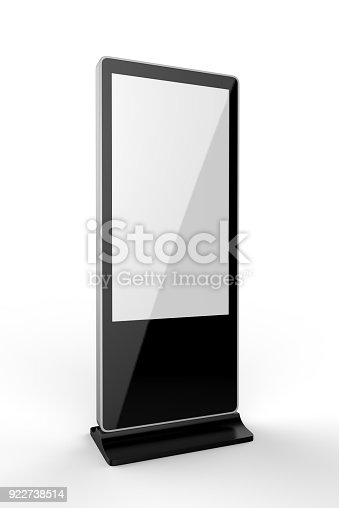 istock WiFi network Multi touch floor standing LCD ad display digital signage display touch monitor. 3d render illustration. 922738514