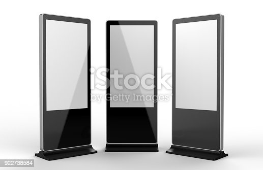 istock WiFi network Multi touch floor standing LCD ad display digital signage display touch monitor. 3d render illustration. 922738584