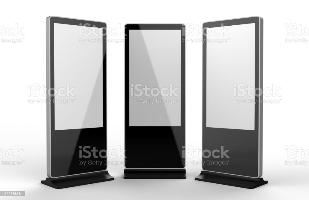 WiFi network Multi touch floor standing LCD ad display digital signage display touch monitor. 3d render illustration. stock photo