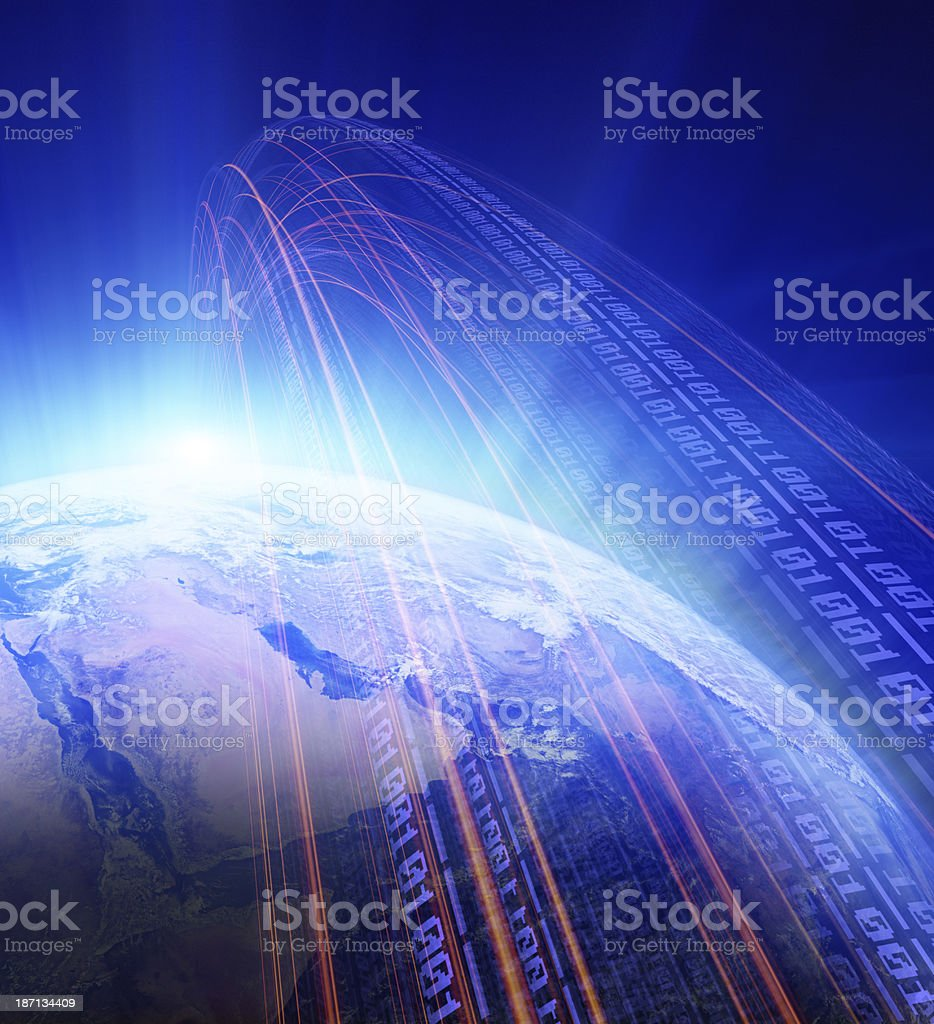 Wifi network transmission in earth stock photo