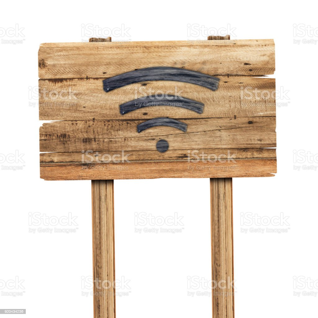 Wifi signal is made of wood on wooden sign isoleted on white background stock photo