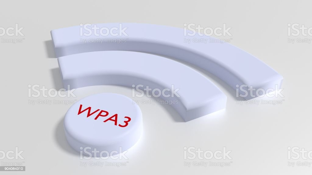Wifi symbol in white with the text WPA3 in red on the dot stock photo