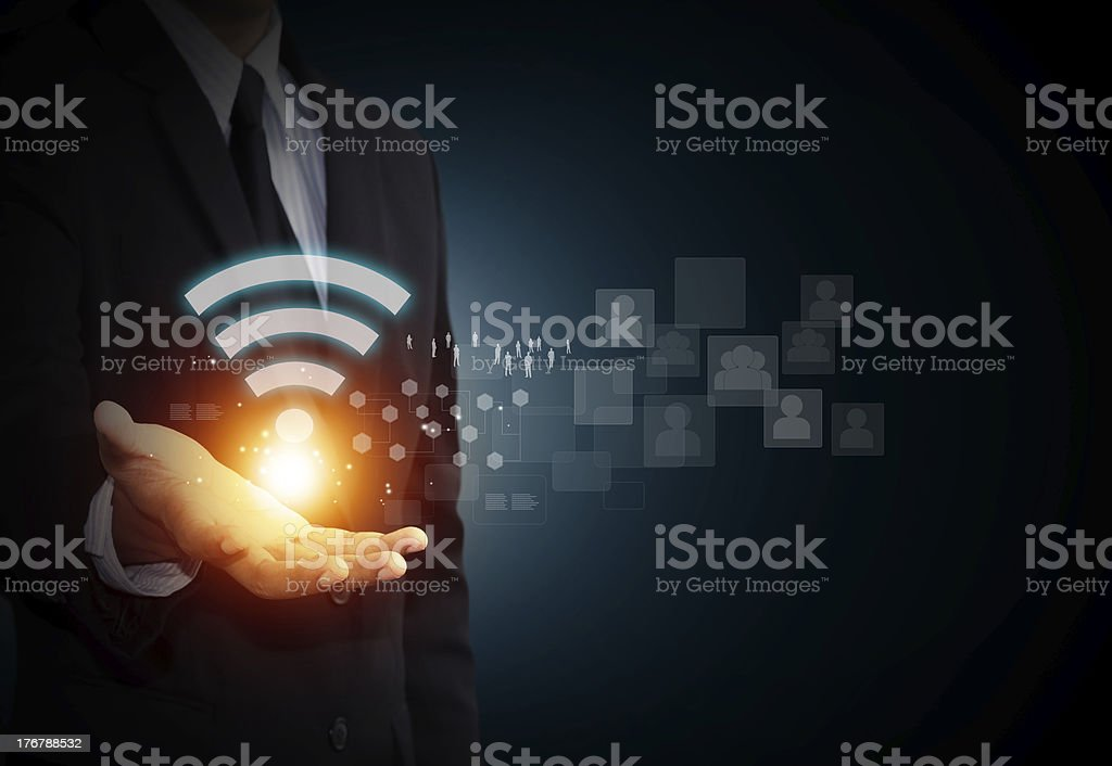 Wifi symbol on mail hand stock photo