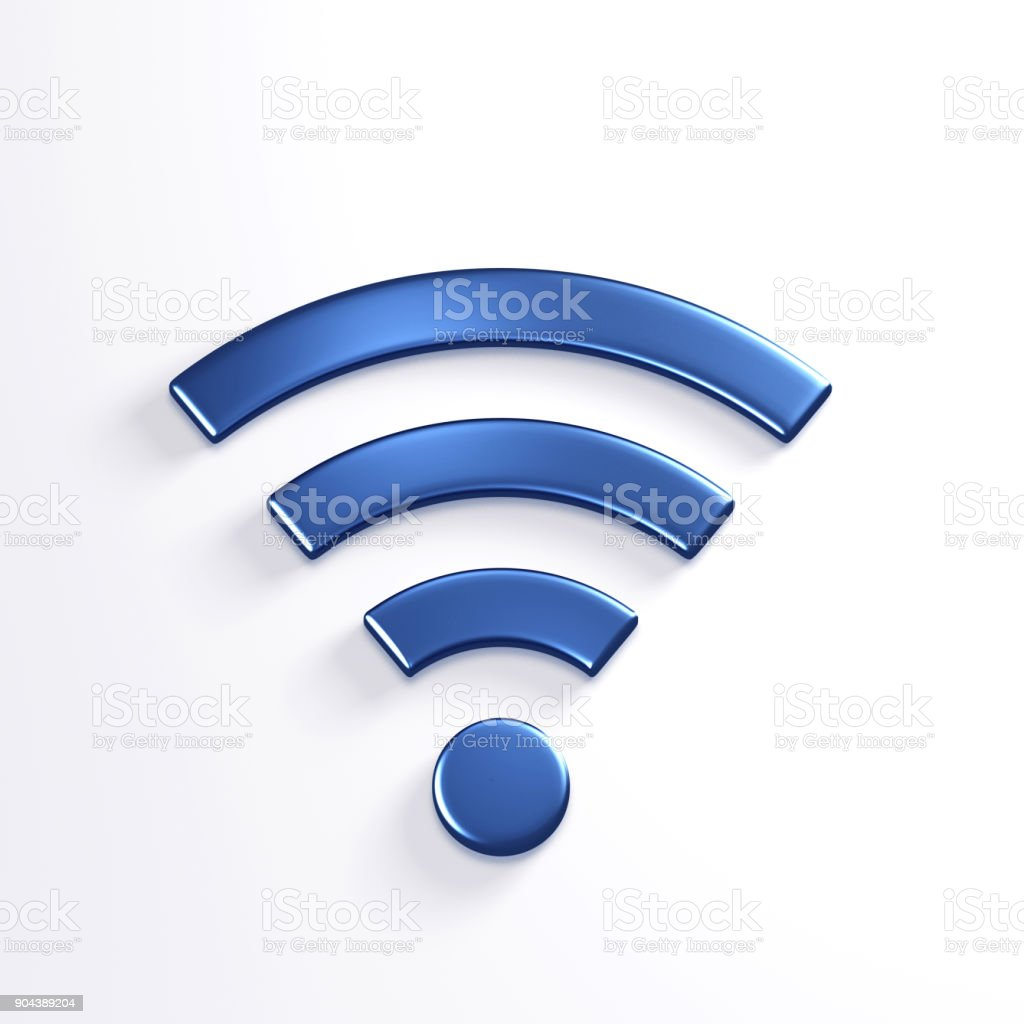 WiFi Wireless Symbol. 3D Blue Render Illustration stock photo