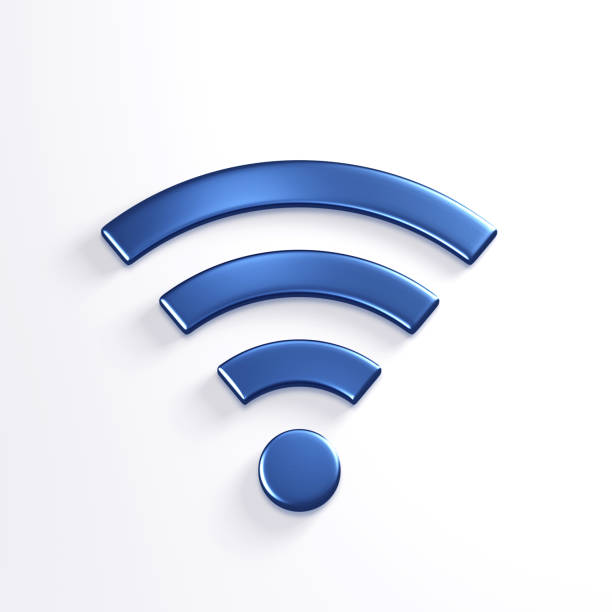 symbole sans fil wifi. illustration 3d render bleu - icône photos et images de collection