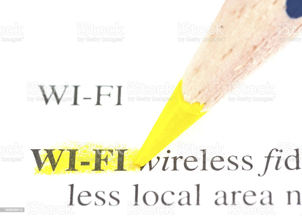 wi-fi word defintion marked in dictionary stock photo