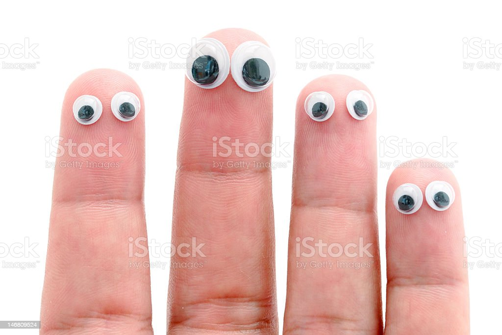 Wiggle eyes stuck on fingers royalty-free stock photo