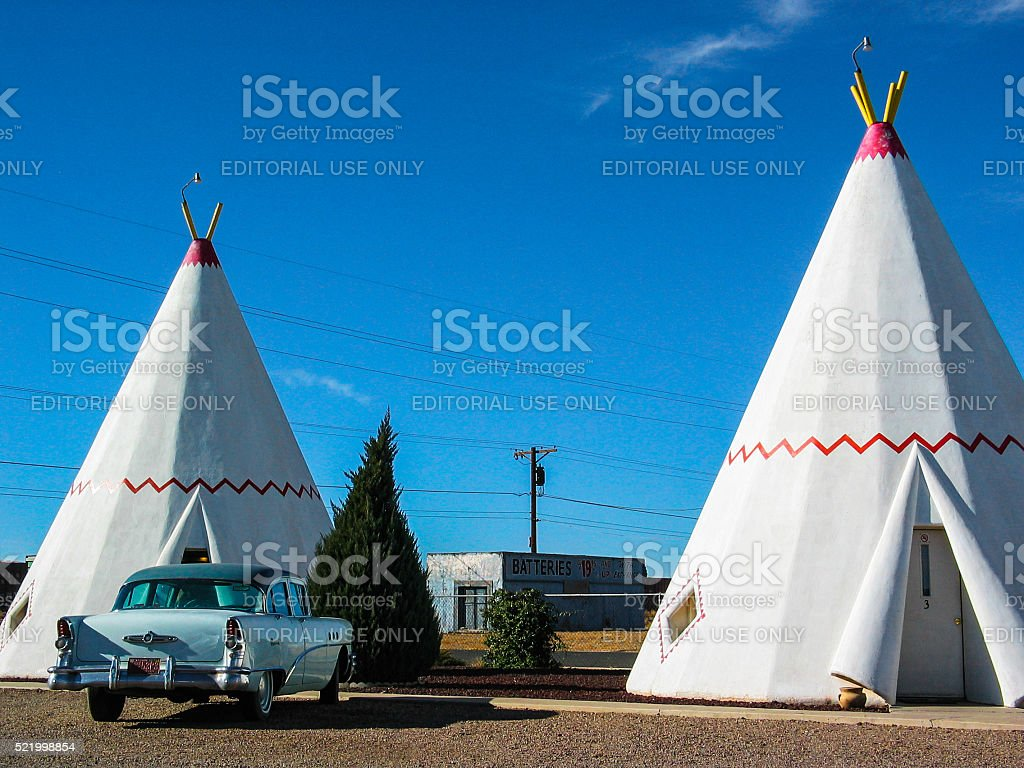Wigwam Motel with a 1955 Buick stock photo