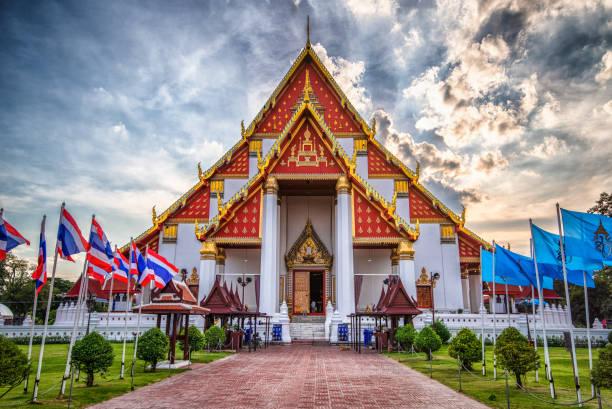 ayutthaya wihan phra mongkhon bophit tapınağı, tayland - ayutthaya bölgesi stok fotoğraflar ve resimler