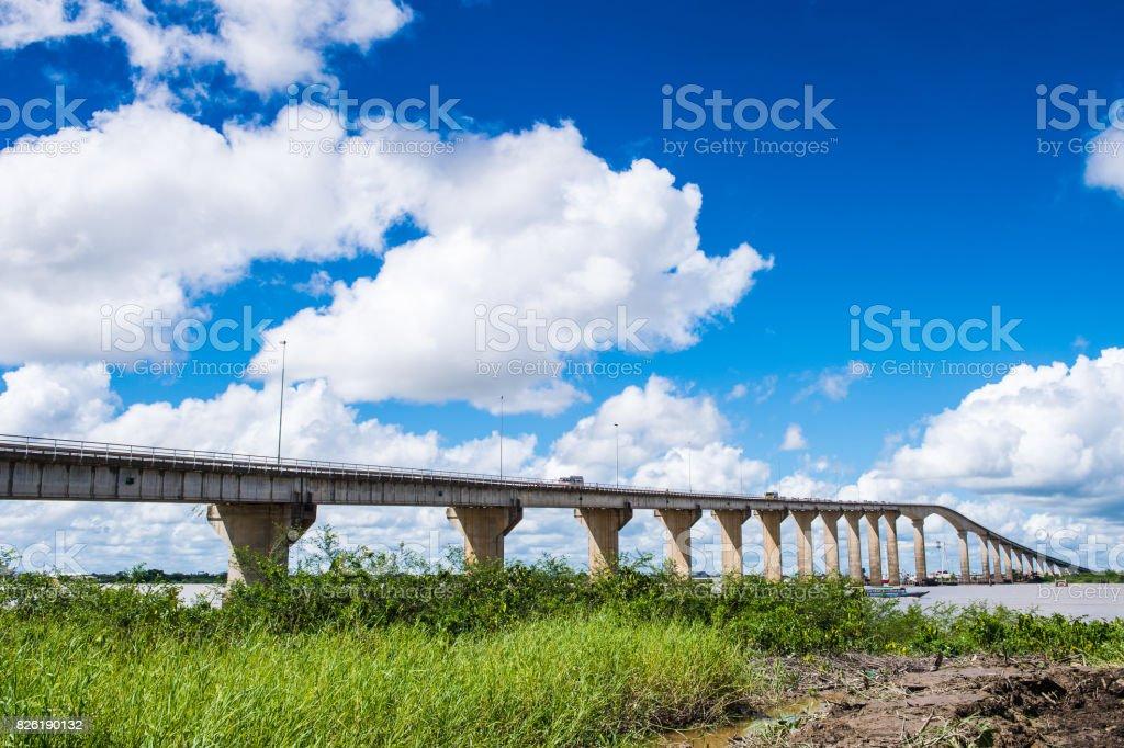 Wijdenbosch bridge, Suriname, South America stock photo