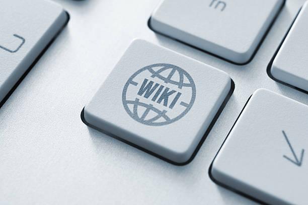 Wiki button stock photo