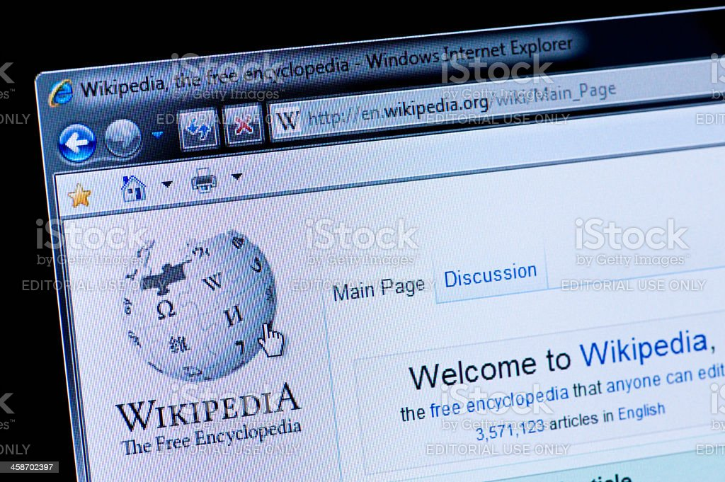 Wikipedia - Macro shot of real monitor screen royalty-free stock photo