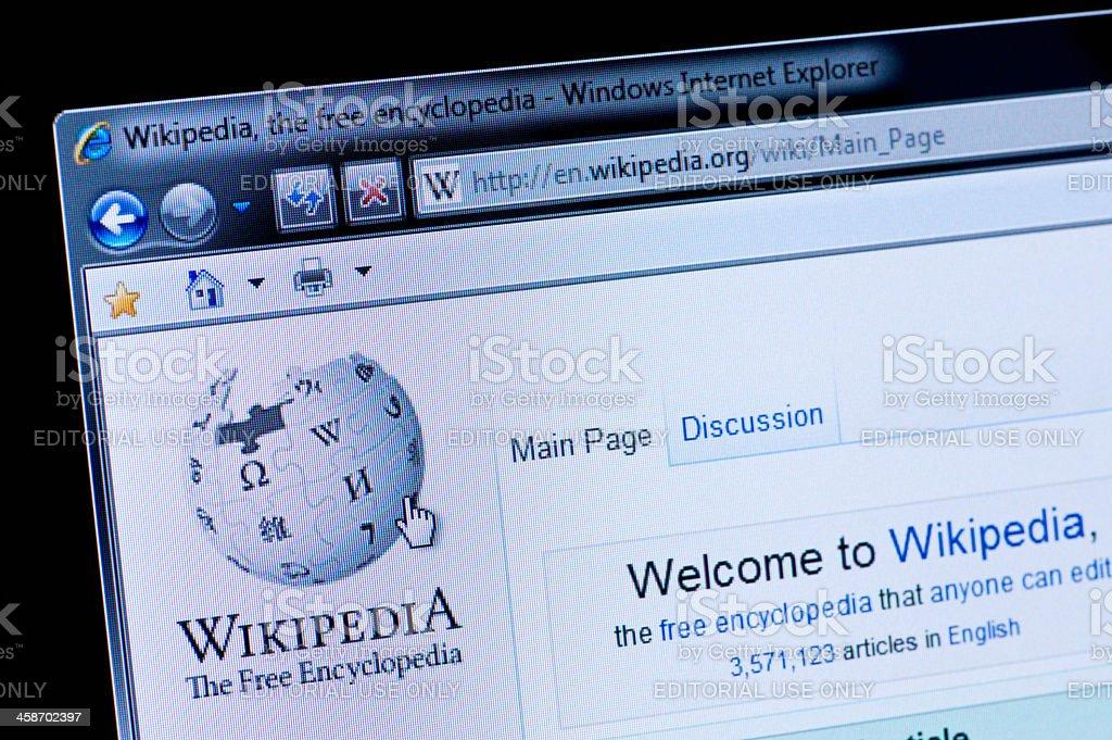 Wikipedia - Macro shot of real monitor screen stock photo
