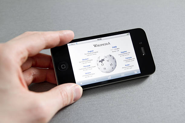 Wikipedia Page on Apple iPhone stock photo