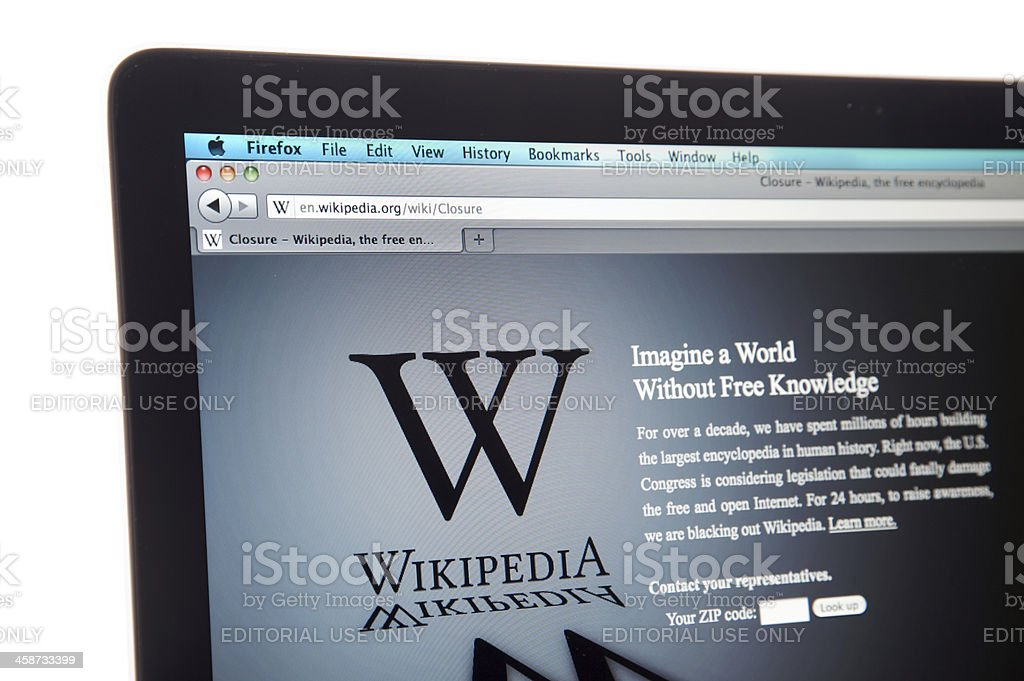 "Wikipedia website internet blackout ""Los Angeles, California, USA - January 18th, 2012: Wikipedia website\'s internet blackout, protesting the anti piracy law that will be voted in the Congress on January 19th."" Blackout Stock Photo"