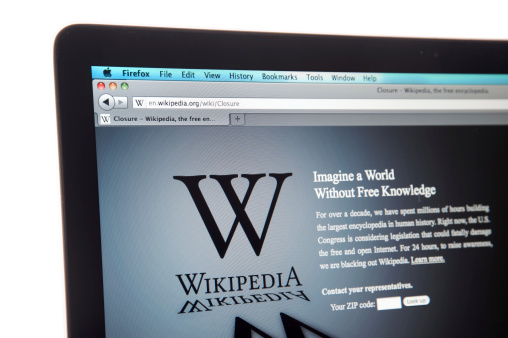 Wikipedia Website Internet Blackout Stock Photo - Download Image Now
