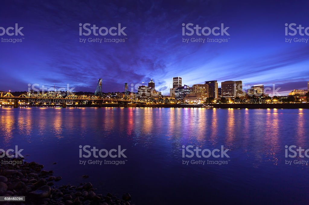 Wilamette River Reflections, Portland stock photo