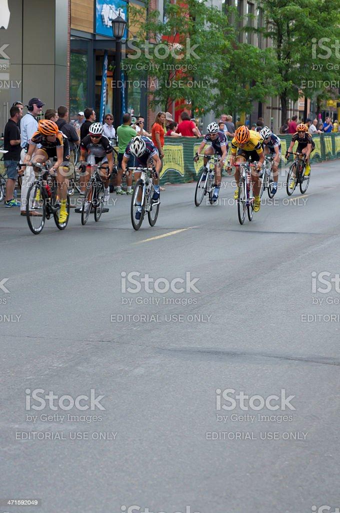 Wilcoxson Races to Win in Uptown Criterium stock photo
