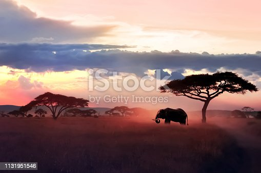 istock Wild African elephant in the savannah. Serengeti National Park. Wildlife of Tanzania. African art image. Free copy space. 1131951546