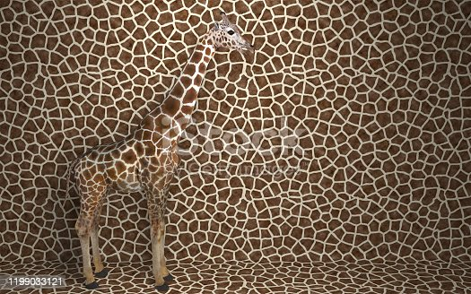 Wild animal giraffe standing indoors merging with spotted background with a pattern of the skin of a giraffe.  Creative conceptual illustration. 3D rendering