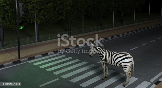 istock Wild animal zebra crosses the road at the crosswalk in the night city observing the Traffic Laws.  Creative conceptual illustration. 3D rendering 1198507931