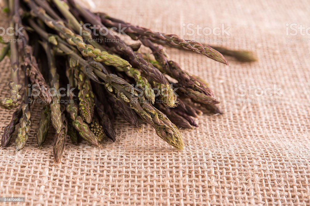 Wild asparagus on sacking stock photo