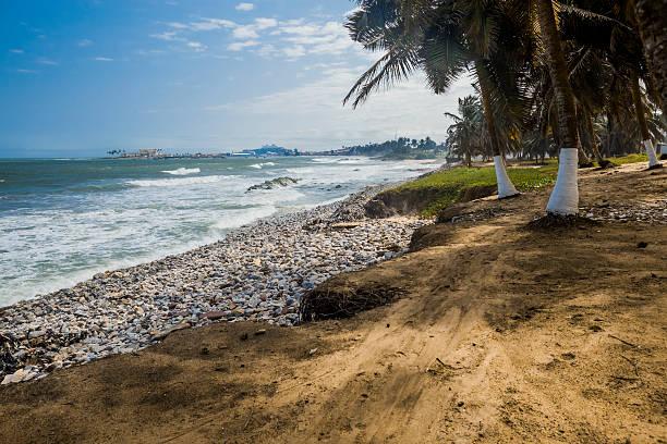 Wild beach in Ghana stock photo