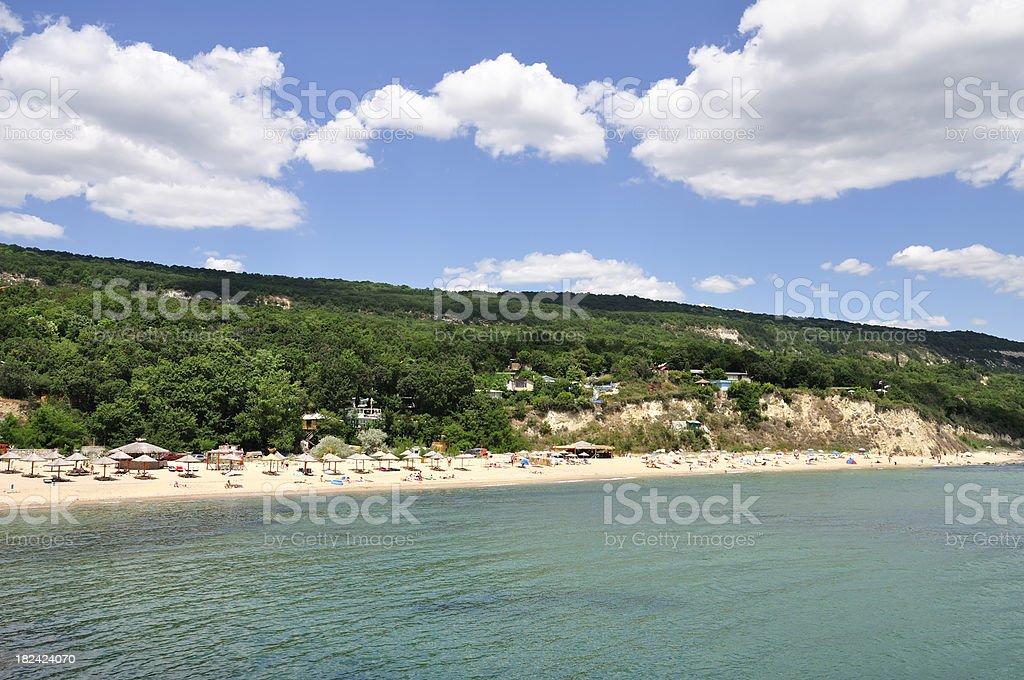 Wild beach near Golden Sands resort, Varna, Bulgaria stock photo