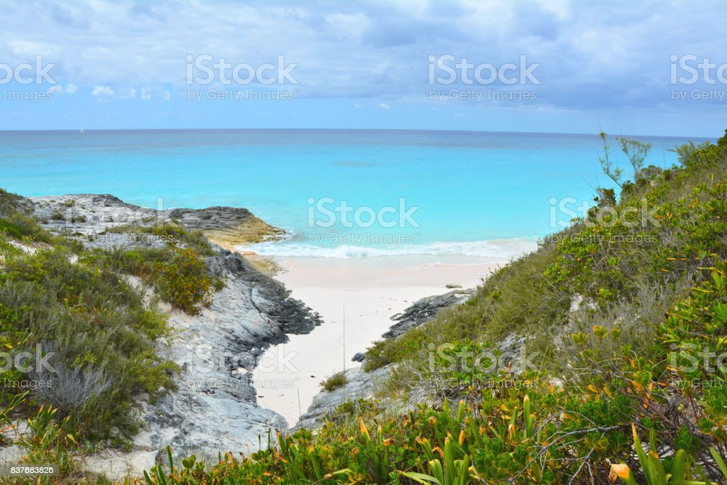Wild beach on Bahamas stock photo