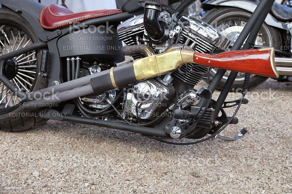 Wild biker stock photo