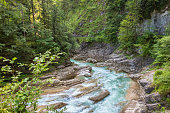 Cascades with beautifully colored water in a canyon in the European Alps, Austria.