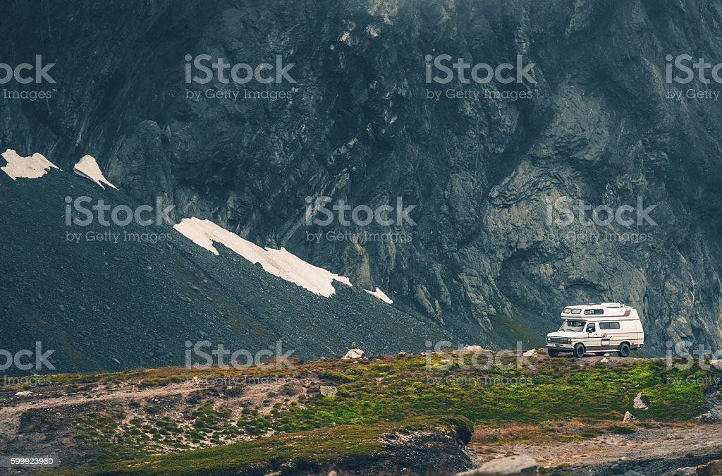 Wild Camping in the Camper stock photo
