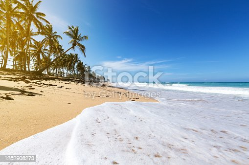 Wild caribbean beach of Atlantic ocean with waves, travel destinations