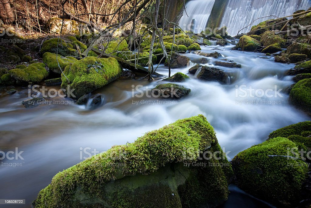 wild cascade with flowing water royalty-free stock photo