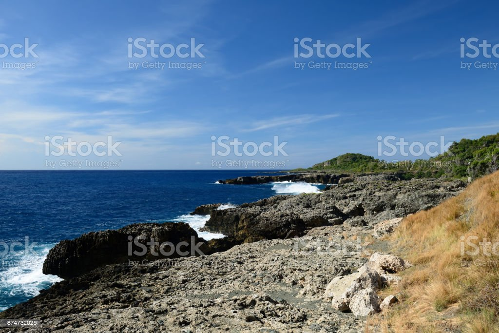 wild coast with the rocky beach stock photo