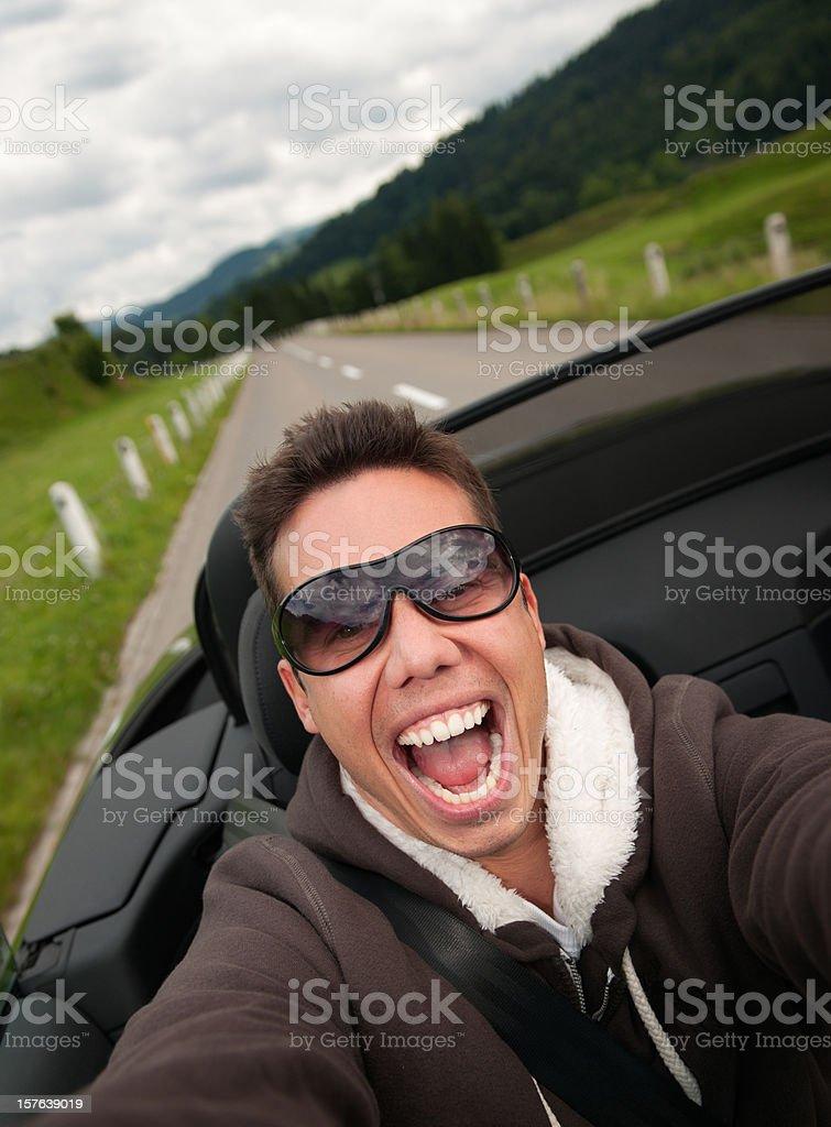 Wild Convertible Car Ride at High Speed (XXXL) stock photo