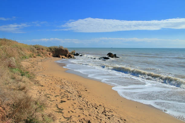 Wild deserted coast of the Black Sea.