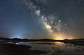 Wild Duck Lake under the Milky Way, in Inner Mongolia, China