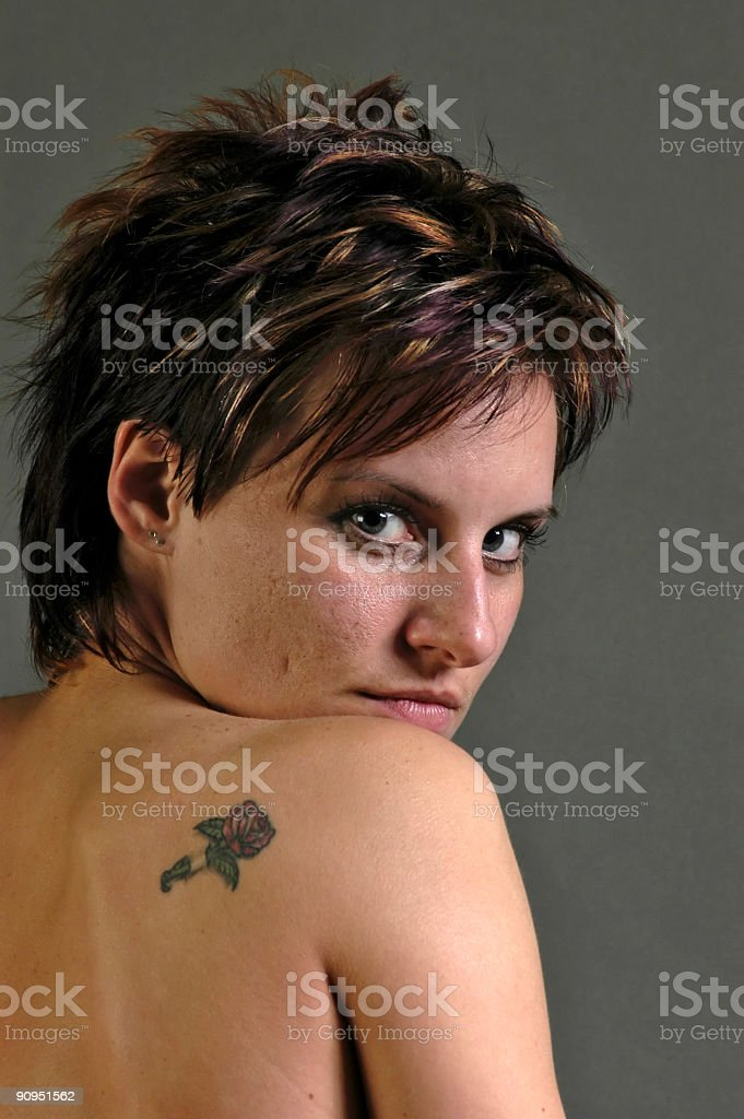 Wild Eyes, She watches over the shoulder stock photo