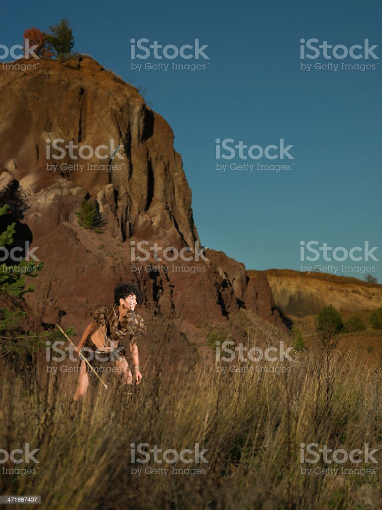 wild female warrior with a spear stock photo