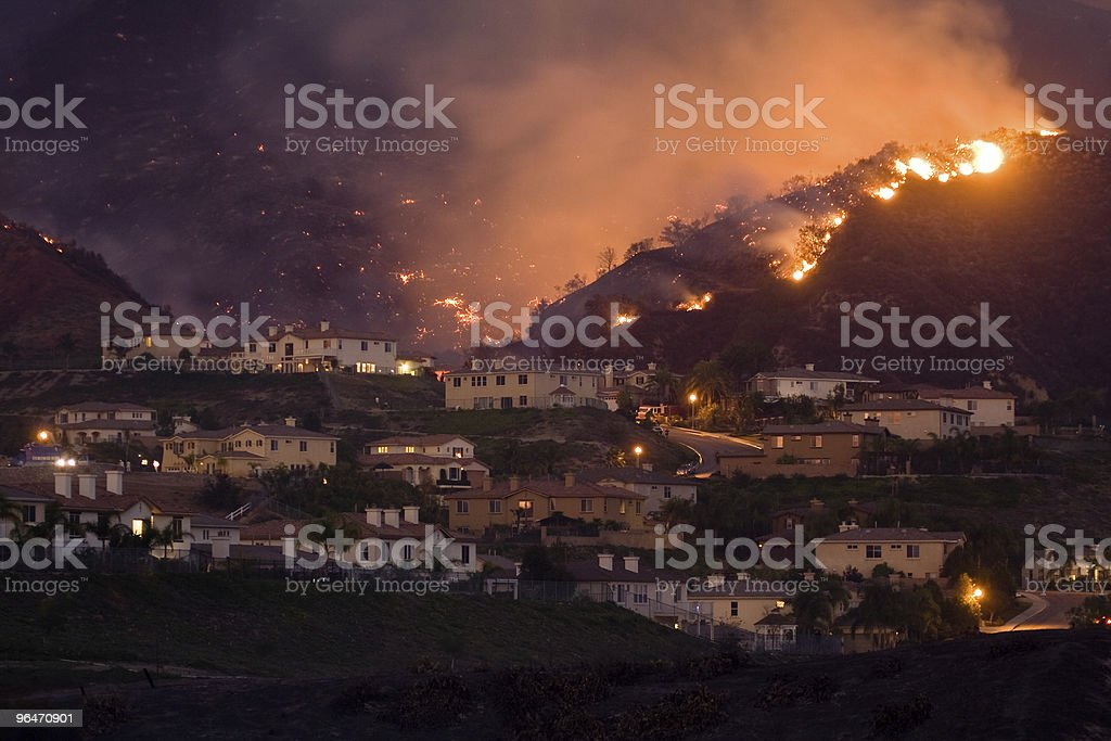 Wild Fire Approaching Homes royalty-free stock photo