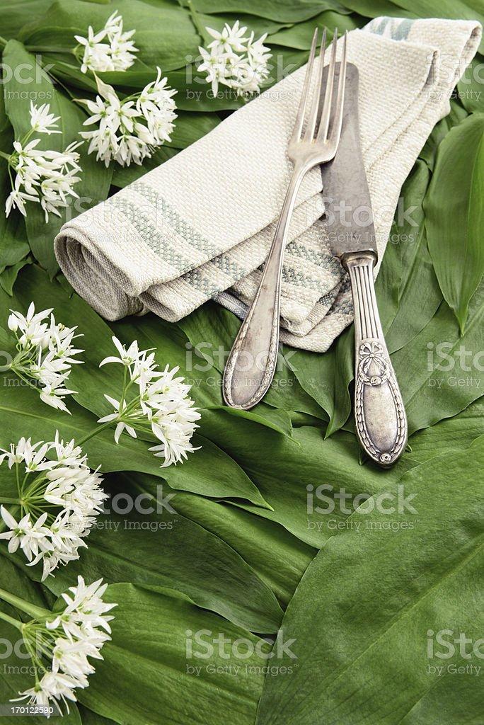 wild garlic (Allium ursinum) and antique silverware stock photo