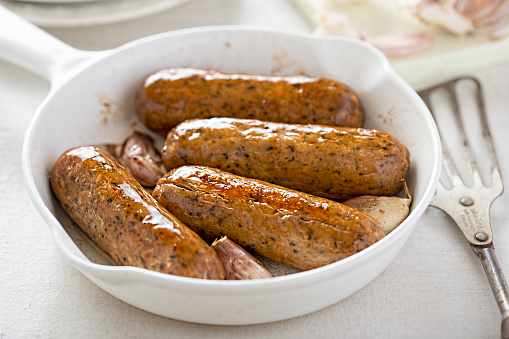 Wild garlic and parsley meat free mycoprotein sausages