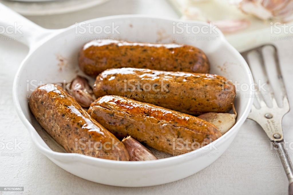 Wild garlic and parsley meat free mycoprotein sausages stock photo