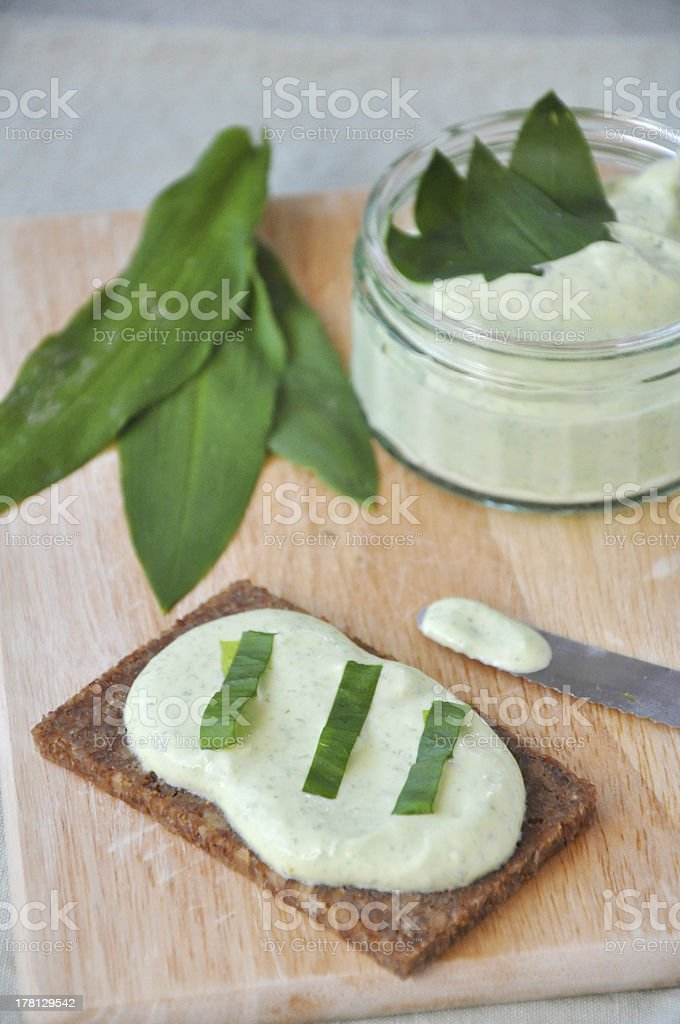 Wild garlic butter royalty-free stock photo