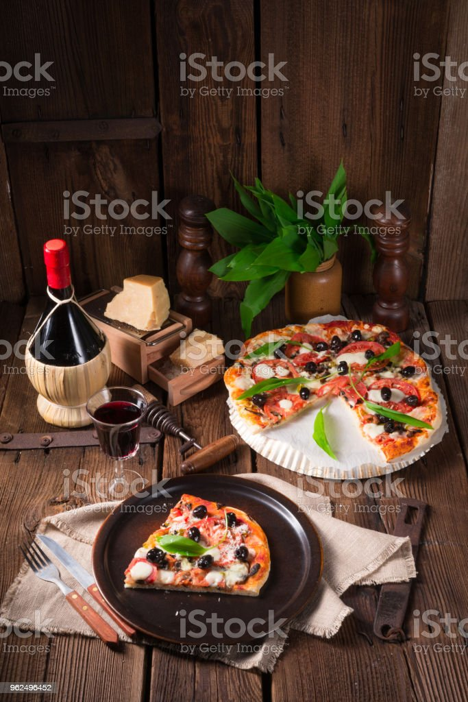 Wild garlic - margarita pizza - Royalty-free Baked Stock Photo