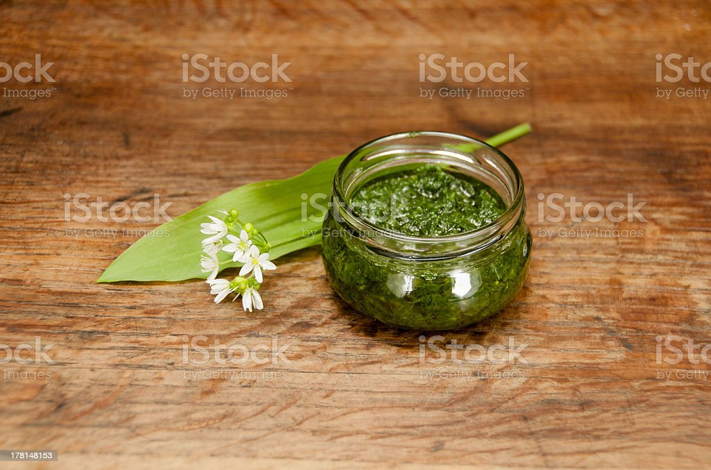Wild garlic pesto royalty-free stock photo